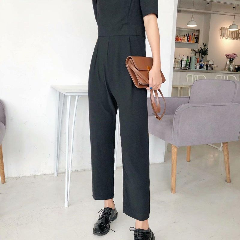 Wholesale new fashion spring square collar bubble sleeve solid color casual jumpsuit trousers wholesale NHAM204854