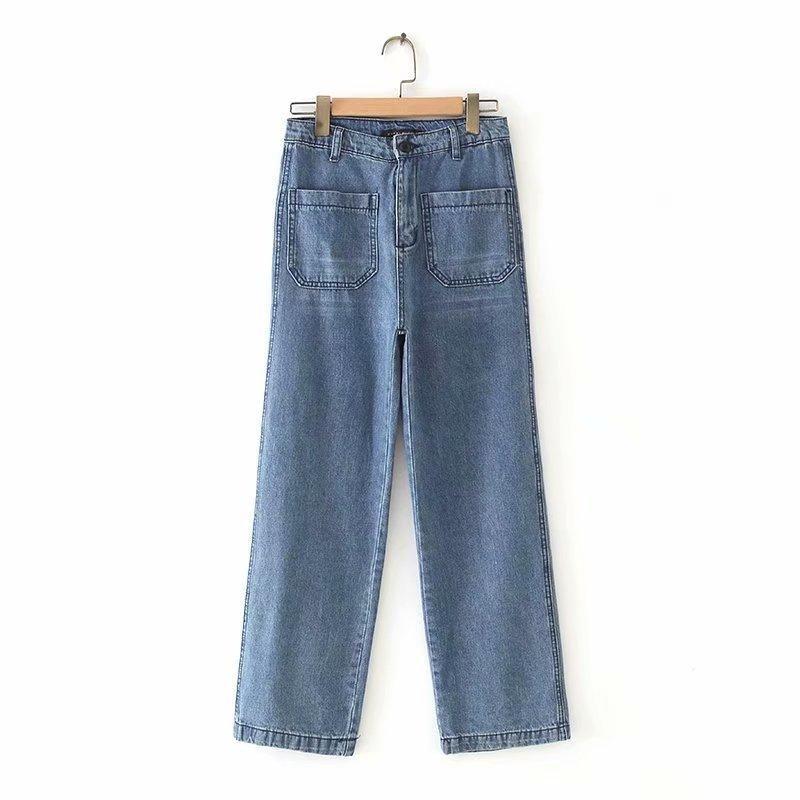 New Fashion Retro High Waist Double Pocket Wide Leg Washed Stretch Jeans Wholesale NHAM204855