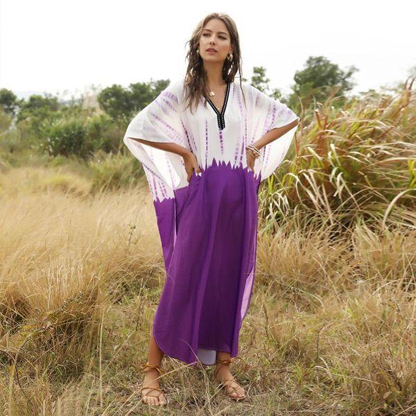 Nuevo vestido de mujer musulmana azul púrpura con manga murciélago y talla grande NHDF204860