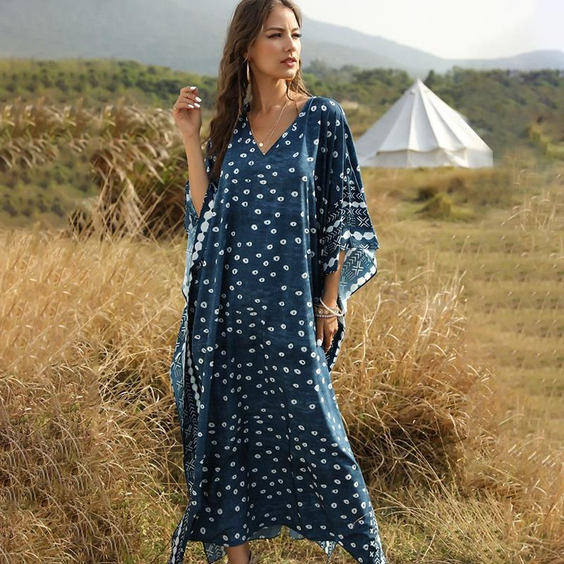 New Fashion Print Bat Sleeve Loose Dress Wholesale NHDF204863