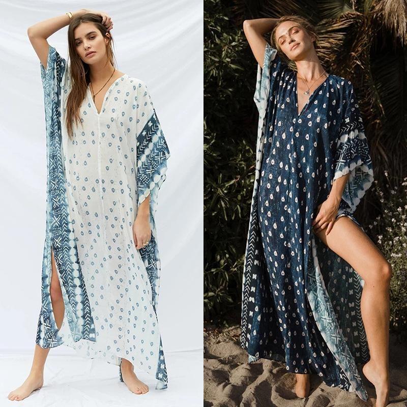 V-neck Muslim Robe Dress Women Wholesale Beach Holiday Casual Skirt NHDF204868