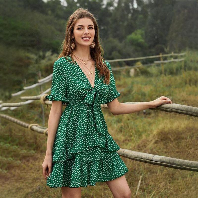 New boho floral stitching ruffled V-neck lace up flared sleeve dress NHDF204870