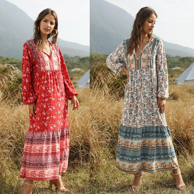 Long Bohemian Print Dress Women's Loose Long Sleeve Stitching New NHDF204872