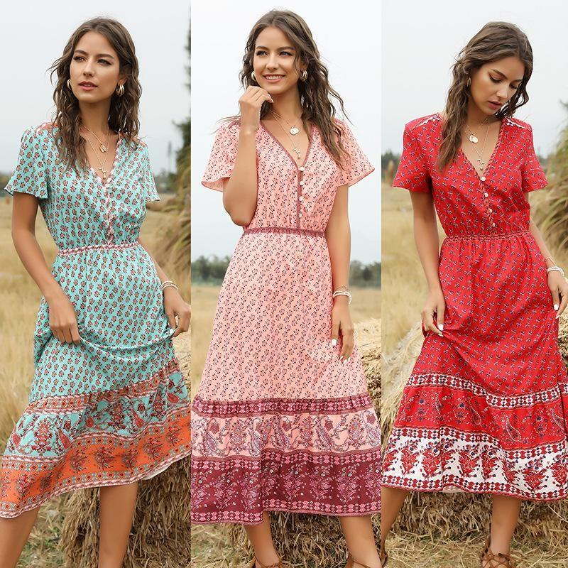 Women's Bohemian Print V-Neck Short Sleeve Dress NHDF204875