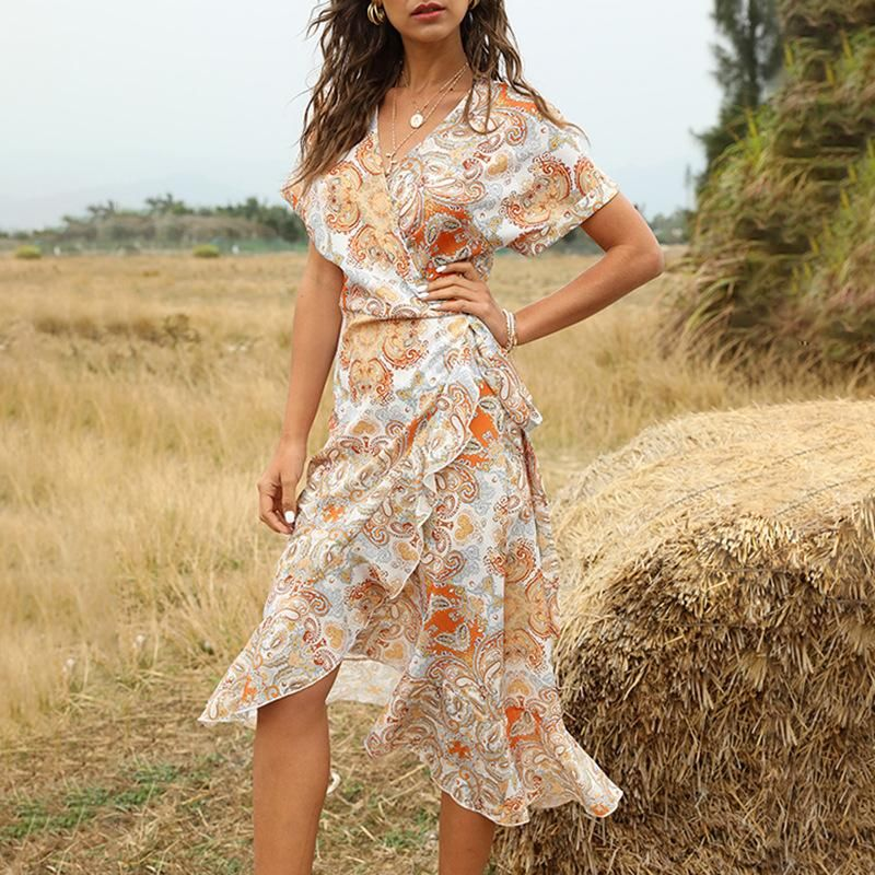 Summer new collection waist mid-length V-neck lace-up women's dress NHDF204876