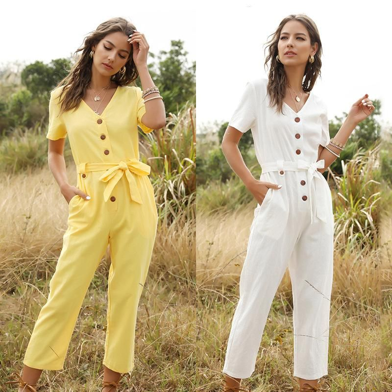 Spring new fashion women's single-breasted wild nine-point jumpsuit wholesale NHDF204878