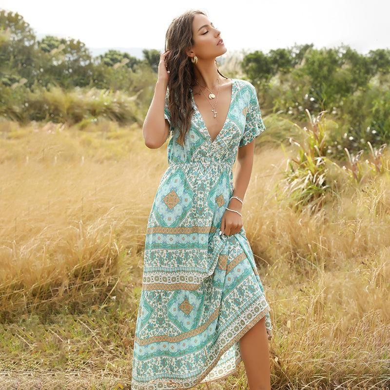 Bohemian Fashion Print Long V-Neck Dress for Women NHDF204879