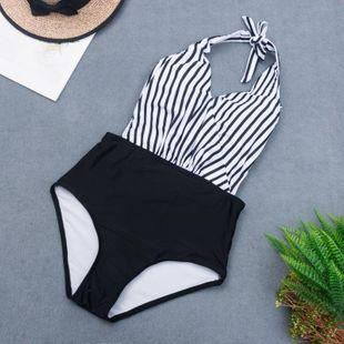 New Striped Halter Bikini Swimsuit Sexy Polka Dot Triangle One-Piece Swimsuit NHHL204948's discount tags