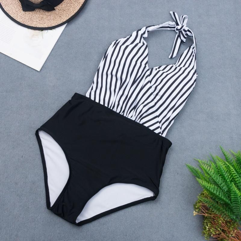 New Striped Halter Bikini Swimsuit Sexy Polka Dot Triangle One-Piece Swimsuit NHHL204948
