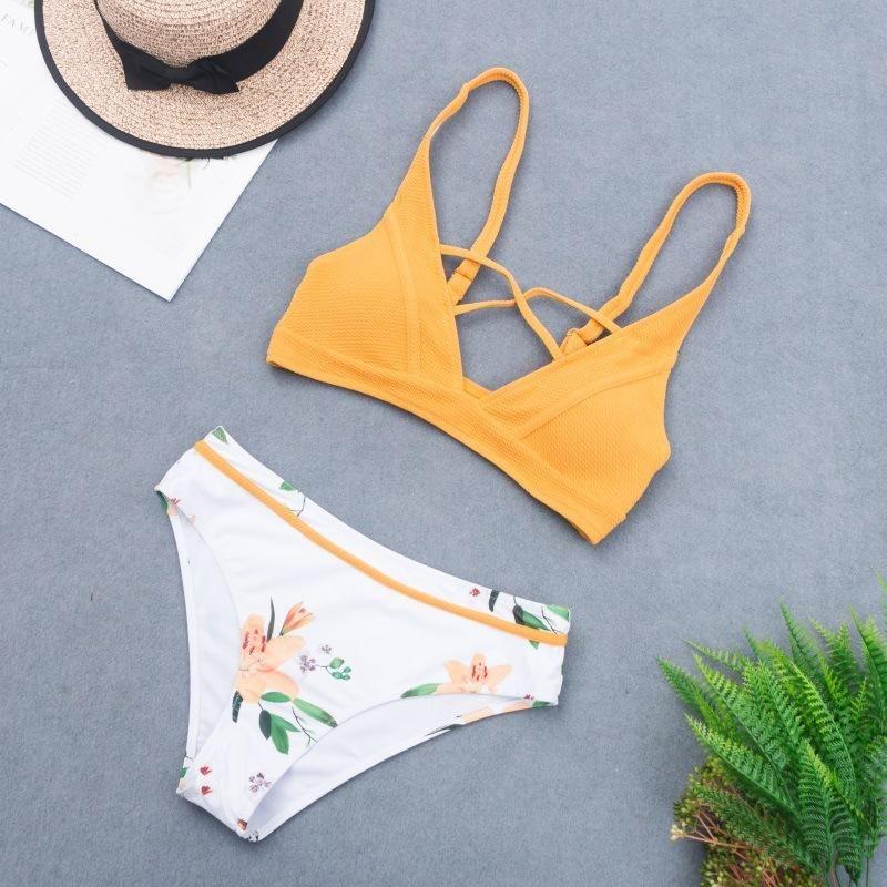 New triangle bikini swimsuit special fabric sexy female split swimsuit NHHL204952