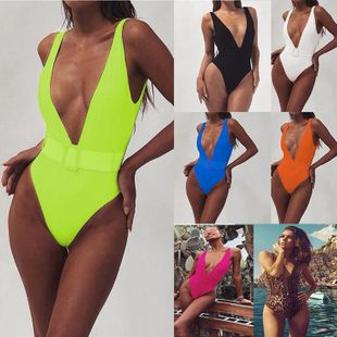 One-piece swimsuit leopard belt buckle integrated bikini wholesale NHDA205004's discount tags