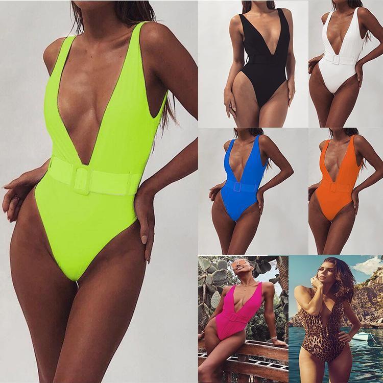 One-piece swimsuit leopard belt buckle integrated bikini wholesale NHDA205004