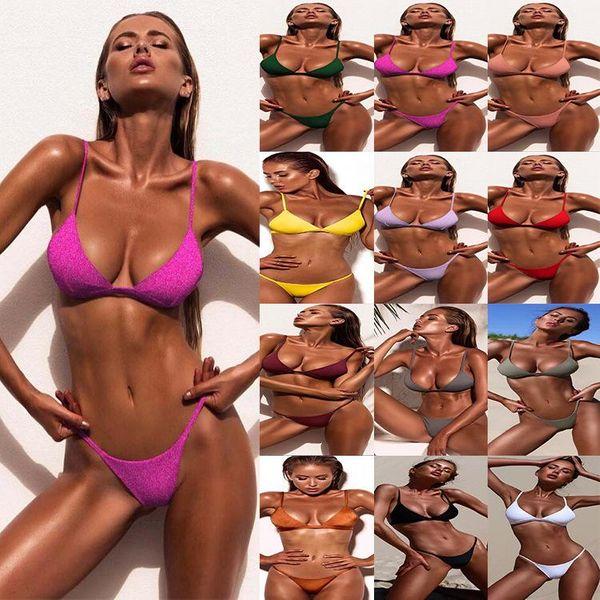 hot bikini new ladies split solid color swimsuit bikini NHDA205009