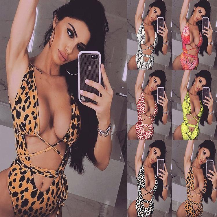 New Bikini Bikini bikinii Leopard Hollow Strap One Piece Swimsuit Wholesale NHDA205015