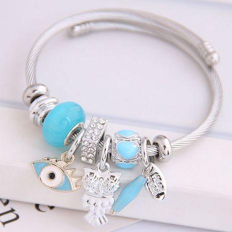 Fashion Metal Devil's Eye Owl Water Drop Pendant Multi-Element Accessories Bangle NHSC205083's discount tags