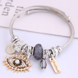 Stylish Metal Devil's Eye Simple Water Drop Pendant Multi-Element Accessories Bangle NHSC205082