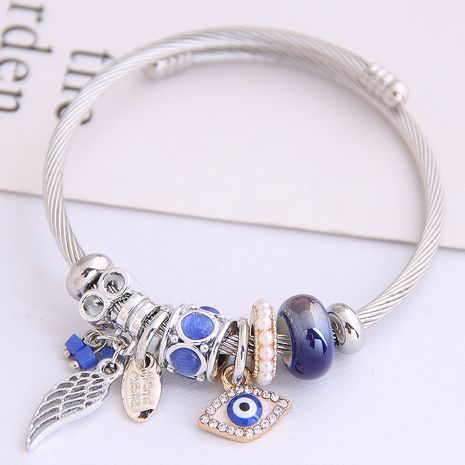 Fashion Metal Angel Wings Demon Eye Pendant Multi-Element Accessories Bangle NHSC205081's discount tags