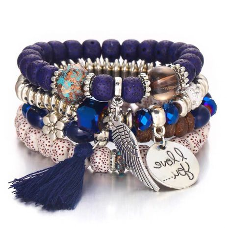 Simple disc love wings tassel multilayer bracelet NHSC205078's discount tags