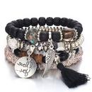 Simple disc love wings tassel multilayer bracelet NHSC205078