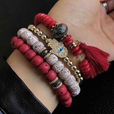 Bracelet multicouche simple en métal avec diamant et paume à sourcils NHSC205077's discount tags