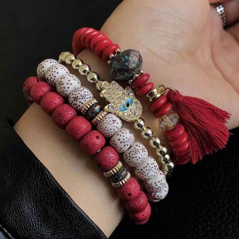 Simple metal flash diamond eyebrow palm multi-layer bracelet NHSC205077