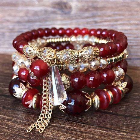 Korean fashion simple crystal bead multi-layer female bracelet NHSC205076's discount tags