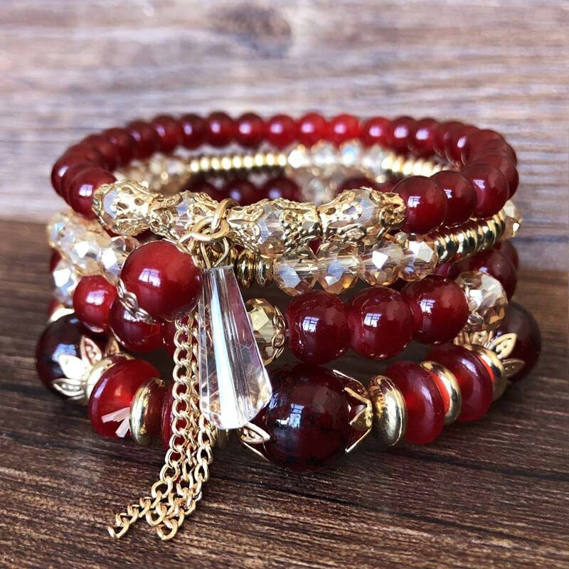Korean fashion simple crystal bead multi-layer female bracelet NHSC205076