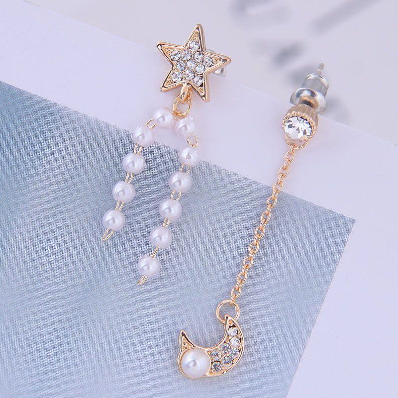 Yi wu jewelry925 silver needle Korean fashion sweet OL flash diamond Xingyue pearl asymmetric earrings wholesale NHSC205746