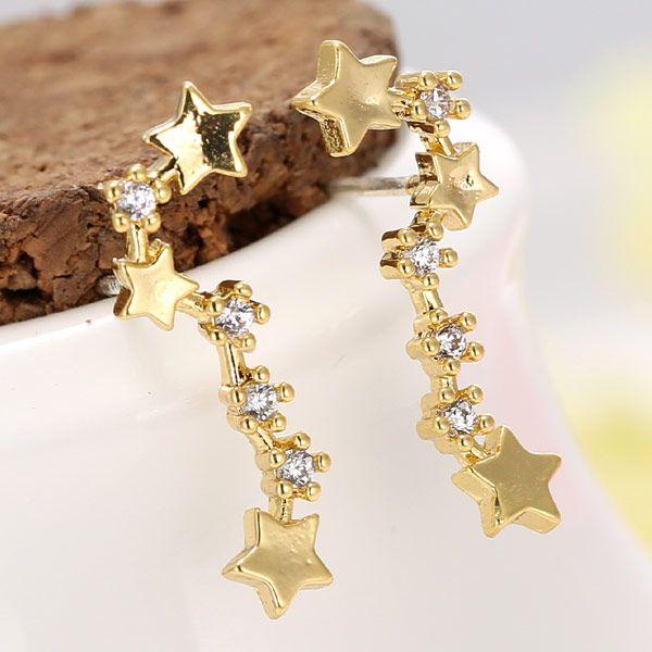Yi wu jewelry Korean Fashion Sweet Simple Flashing Star Earrings Wholesale NHSC205735