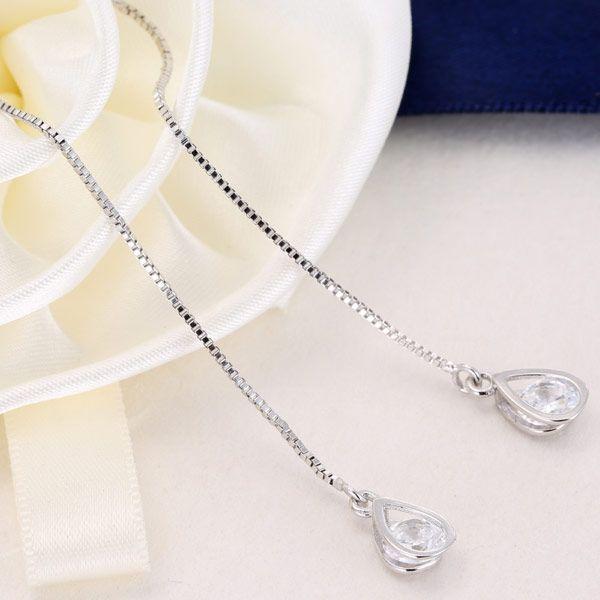Yi wu joyería moda coreana dulce OL gota de agua zirconia cable de oreja al por mayor NHSC205734