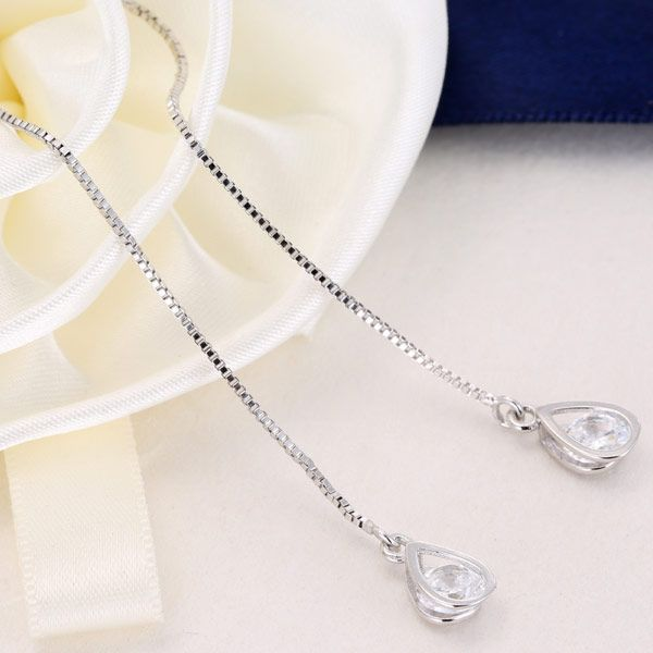 Yi wu jewelry Korean Fashion Sweet OL Water Drop Zirconia Ear Cord Wholesale NHSC205734
