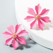 Aretes de aleación de pintura floral para mujer NHLN152157