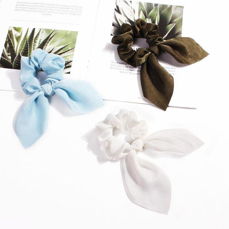 New fashion solid color satin fabric streamer hair ring sweet rabbit ear cheap hair ring wholesale NHDM205021
