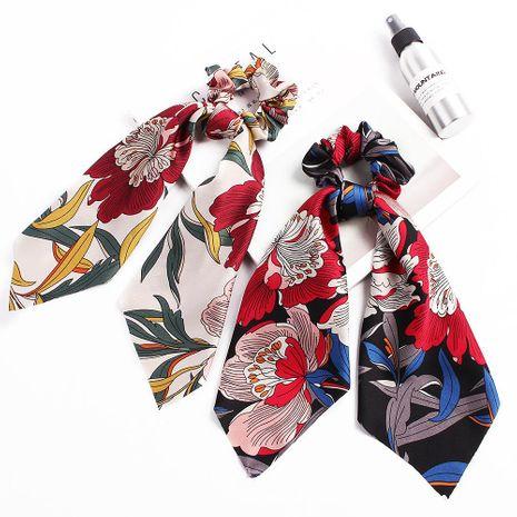 Nouvelle mode grande fleur satin imprimé écharpe pas cher cheveux anneau en gros NHDM205024's discount tags