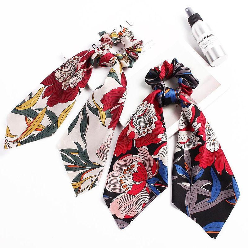 New fashion big flower satin printed scarf cheap hair ring wholesale NHDM205024