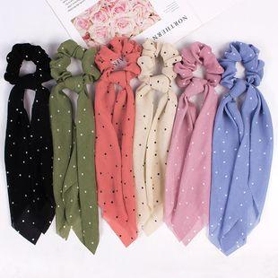 New Fashion Print Scarf Simple Love Polka Dot Hair Circle Ribbon Cheap Hair Circle Wholesale NHDM205025's discount tags