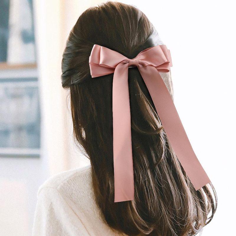 New Fashion Satin Double Sided Ribbon Ribbon Bow Hair Clip Solid Color Cheap Long Ribbon Wholesale NHDM205039