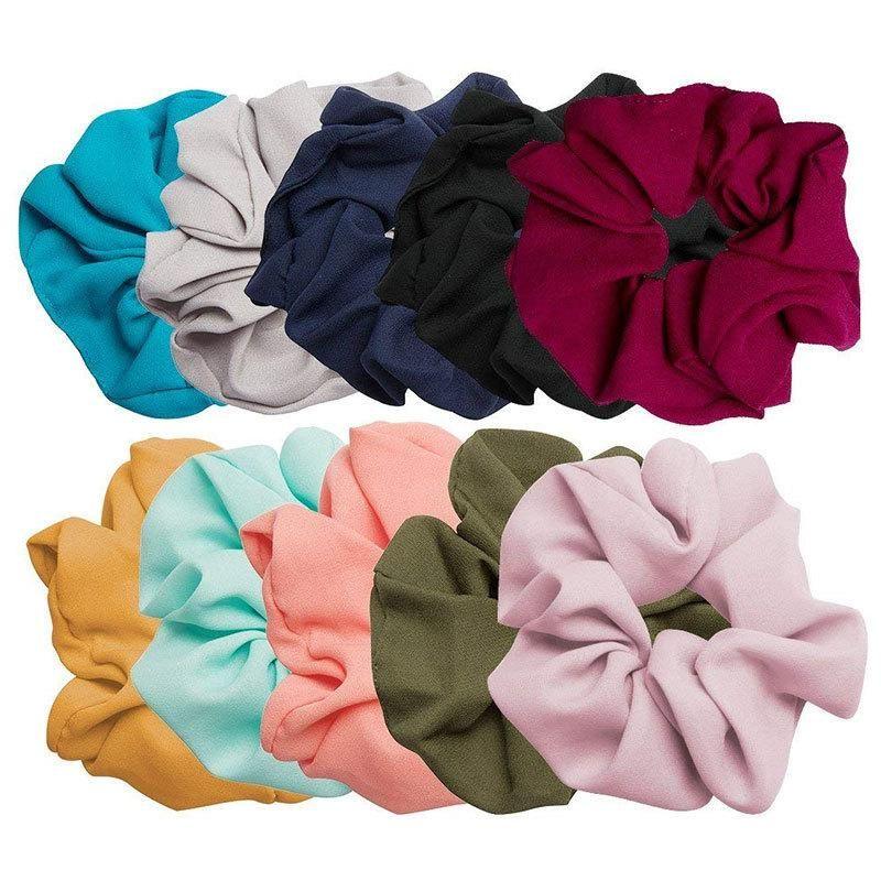 New fashion solid color Korean elastic band simple chiffon cheap hair ring wholesale NHDM205043