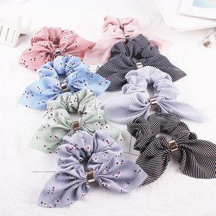 New fashion rabbit ears hair rope chiffon metal buckle cheap hair ring wholesale NHDM205046's discount tags