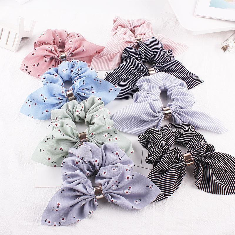 New fashion rabbit ears hair rope chiffon metal buckle cheap hair ring wholesale NHDM205046
