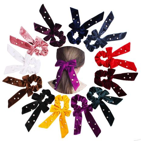 New fashion bow velvet pearl floating bow knot fashion cheap hair ring wholesale NHDM205048's discount tags