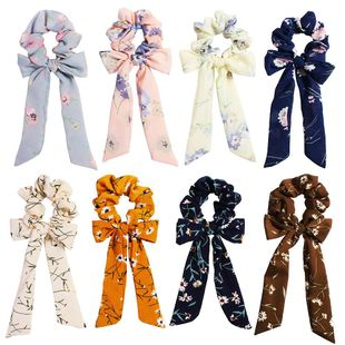 New fashion retro pop chiffon solid color bow ribbon cheap hair ring wholesale NHDM205051's discount tags