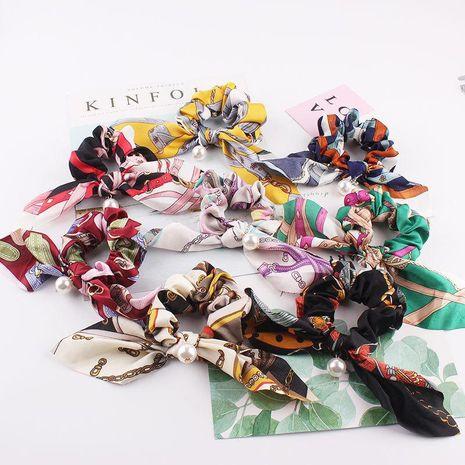 Nouvelle mode doux floral cheveux anneau grand arc long ruban lapin oreille pas cher cheveux corde en gros NHDM205054's discount tags
