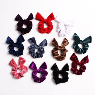 New fashion pointed rabbit ears velvet bow cheap hair rope wholesale NHDM205056's discount tags