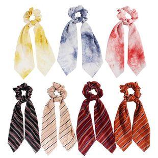 New Fashion Print Scarf Hair Band Gradient Stripe Ribbon Ponytail Cheap Hair Band Wholesale NHDM205057's discount tags