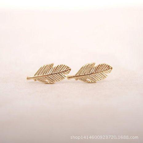 Fashion Feather Shape Leaf Stud Earrings Gold Gold Silver Rose Leaf Stud Earrings NHCU205066's discount tags