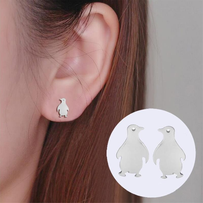 New cartoon penguin ear alloy plating earrings wholesale NHCU205069