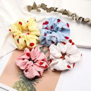 New fashion Korean strawberry pattern cloth fabric cheap hair ring wholesale NHJE205088