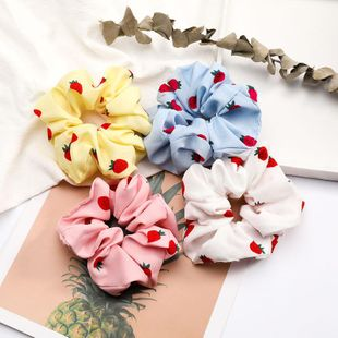 New fashion Korean strawberry pattern cloth fabric cheap hair ring wholesale NHJE205088's discount tags