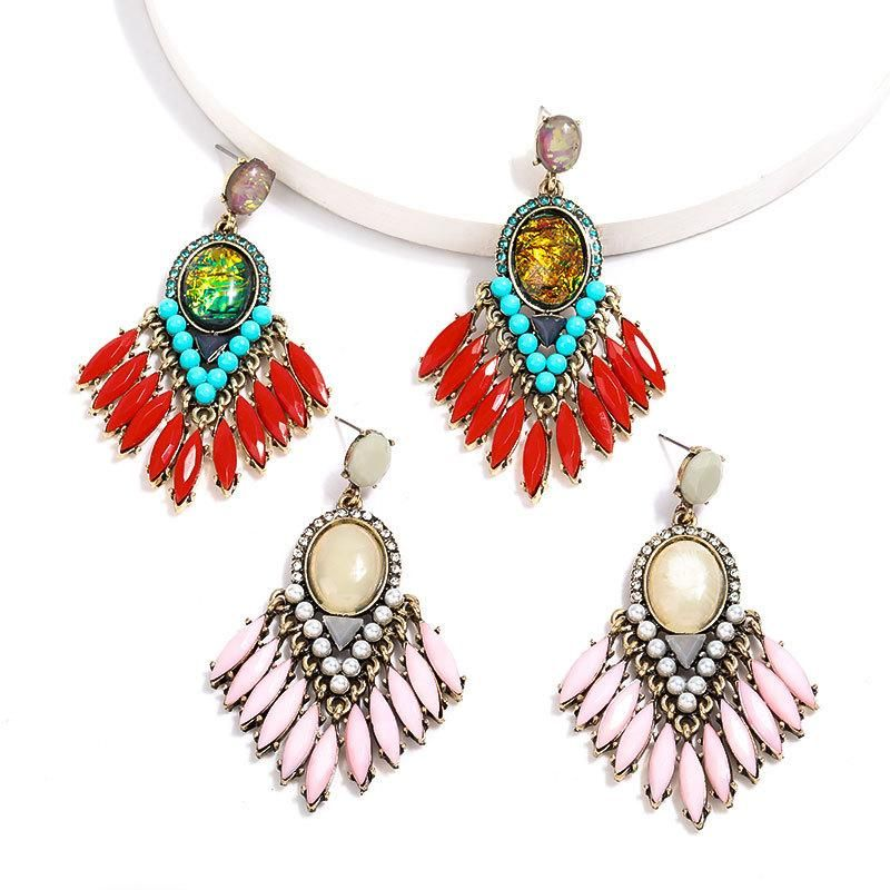 Alloy-Set Resin Tassel Vintage Earrings NHJE205090